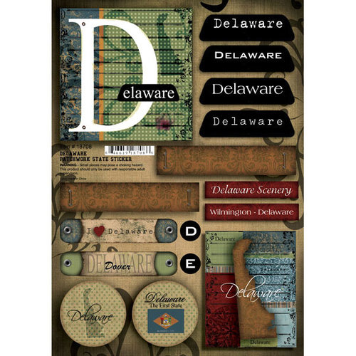 Scrapbook Customs - United States Collection - Delaware - Cardstock Stickers - Patchwork