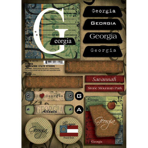 Scrapbook Customs - United States Collection - Georgia - Cardstock Stickers - Patchwork