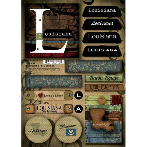 Scrapbook Customs - United States Collection - Louisiana - Cardstock Stickers - Patchwork