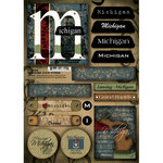 Scrapbook Customs - United States Collection - Michigan - Cardstock Stickers - Patchwork