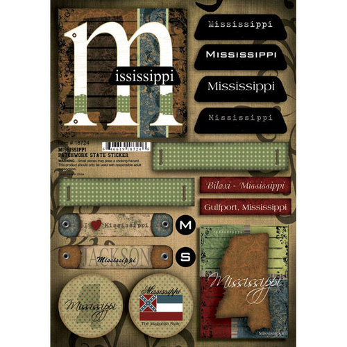 Scrapbook Customs - United States Collection - Mississippi - Cardstock Stickers - Patchwork