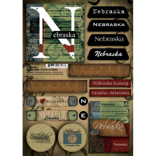 Scrapbook Customs - United States Collection - Nebraska - Cardstock Stickers - Patchwork