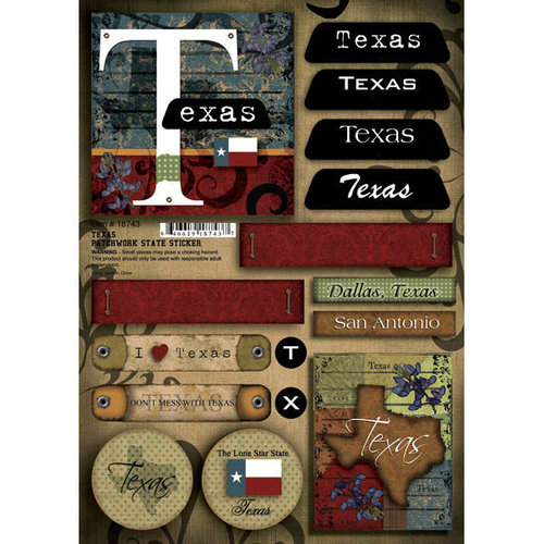 Scrapbook Customs - United States Collection - Texas - Cardstock Stickers - Patchwork