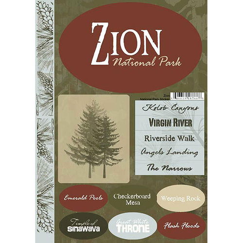 Scrapbook Customs - United States Collection - Utah - National Park - Cardstock Stickers - Zion