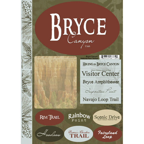 Scrapbook Customs - United States Collection - Utah - National Park - Cardstock Stickers - Bryce Canyon