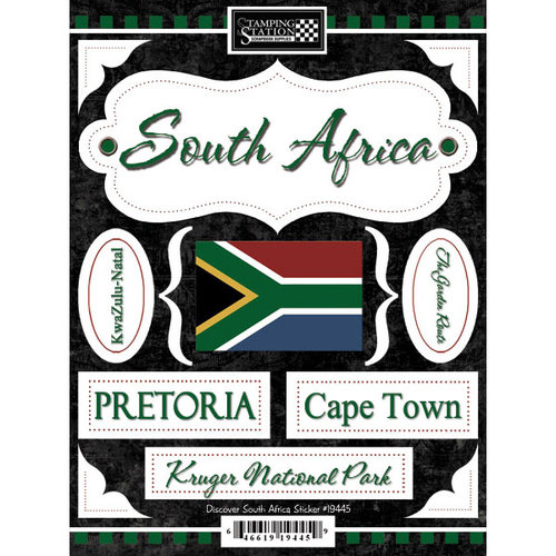 Scrapbook Customs - World Collection - South Africa - Cardstock Stickers - Discover