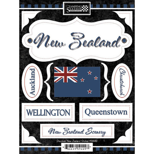 Scrapbook Customs - World Collection - New Zealand - Cardstock Stickers - Discover