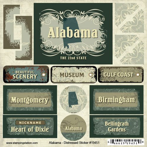 Scrapbook Customs - United States Collection - Alabama - Distressed Cardstock Stickers