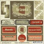 Scrapbook Customs - United States Collection - Arizona - Distressed Cardstock Stickers