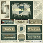 Scrapbook Customs - United States Collection - Connecticut - Distressed Cardstock Stickers