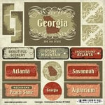 Scrapbook Customs - United States Collection - Georgia - Distressed Cardstock Stickers