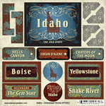 Scrapbook Customs - United States Collection - Idaho - Distressed Cardstock Stickers