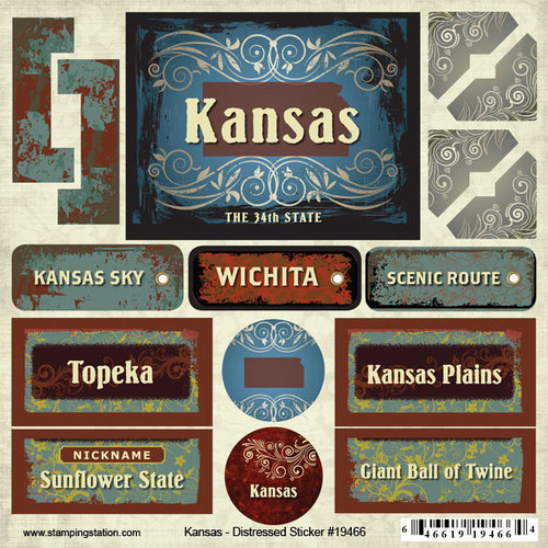 Scrapbook Customs - United States Collection - Kansas - Distressed Cardstock Stickers