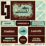 Scrapbook Customs - United States Collection - Kentucky - Distressed Cardstock Stickers