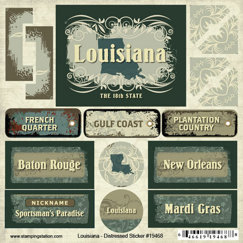 Scrapbook Customs - United States Collection - Louisiana - Distressed Cardstock Stickers