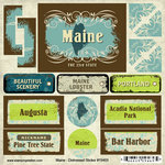 Scrapbook Customs - United States Collection - Maine - Distressed Cardstock Stickers