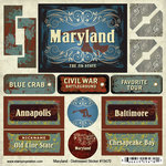 Scrapbook Customs - United States Collection - Maryland - Distressed Cardstock Stickers