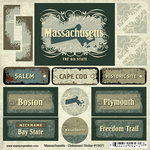 Scrapbook Customs - United States Collection - Massachusetts - Distressed Cardstock Stickers