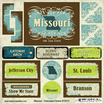 Scrapbook Customs - United States Collection - Missouri - Distressed Cardstock Stickers