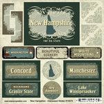 Scrapbook Customs - United States Collection - New Hampshire - Distressed Cardstock Stickers
