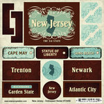 Scrapbook Customs - United States Collection - New Jersey - Distressed Cardstock Stickers