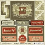 Scrapbook Customs - United States Collection - New Mexico - Distressed Cardstock Stickers