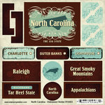 Scrapbook Customs - United States Collection - North Carolina - Distressed Cardstock Stickers