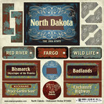 Scrapbook Customs - United States Collection - North Dakota - Distressed Cardstock Stickers