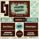 Scrapbook Customs - United States Collection - Pennsylvania - Distressed Cardstock Stickers