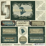 Scrapbook Customs - United States Collection - Rhode Island - Distressed Cardstock Stickers
