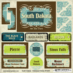 Scrapbook Customs - United States Collection - South Dakota - Distressed Cardstock Stickers