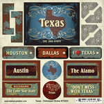 Scrapbook Customs - United States Collection - Texas - Distressed Cardstock Stickers