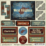 Scrapbook Customs - United States Collection - West Virginia - Distressed Cardstock Stickers