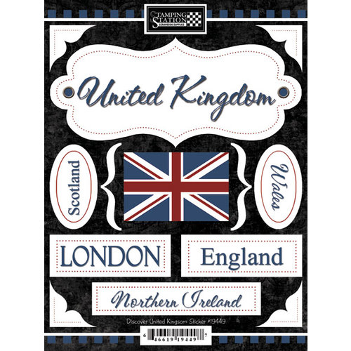 Scrapbook Customs - World Collection - United Kingdom - Cardstock Stickers - Discover