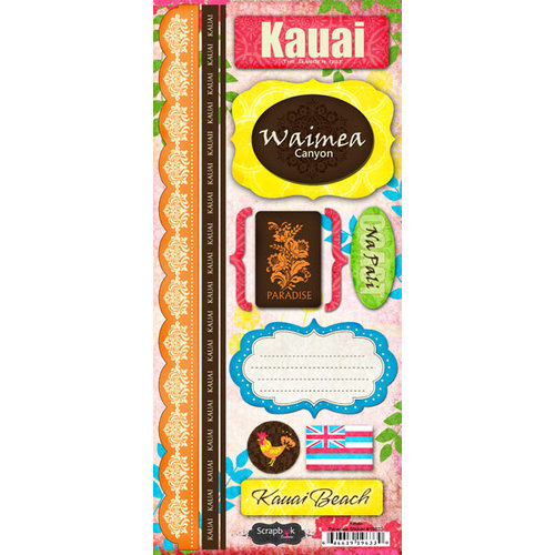 Scrapbook Customs - World Collection - USA - Hawaii - Cardstock Stickers - Kauai - Paradise