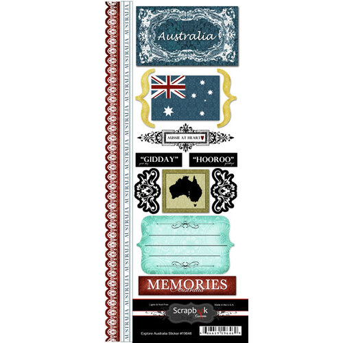 Scrapbook Customs - World Collection - Australia - Cardstock Stickers - Explore