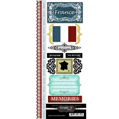 Scrapbook Customs - World Collection - France - Cardstock Stickers - Explore