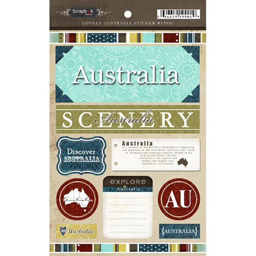 Scrapbook Customs - World Collection - Australia - Cardstock Stickers - Exploring