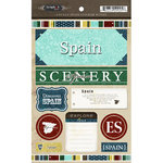 Scrapbook Customs - World Collection - Spain - Cardstock Stickers - Exploring