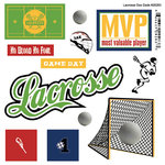 Scrapbook Customs - Sports Pride Collection - Doo Dads - Self Adhesive Metal Badges - Lacrosse