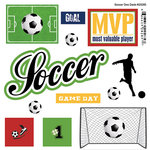Scrapbook Customs - Sports Pride Collection - Doo Dads - Self Adhesive Metal Badges - Soccer