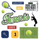 Scrapbook Customs - Sports Pride Collection - Doo Dads - Self Adhesive Metal Badges - Tennis