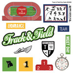 Scrapbook Customs - Sports Pride Collection - Doo Dads - Self Adhesive Metal Badges - Track and Field