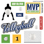 Scrapbook Customs - Sports Pride Collection - Doo Dads - Self Adhesive Metal Badges - Volleyball