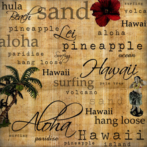 Scrapbook Customs - United States Collection - Hawaii - 12 x 12 Paper - Hawaiian Words - Left