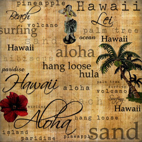 Scrapbook Customs - United States Collection - Hawaii - 12 x 12 Paper - Hawaiian Words - Right