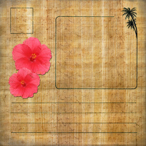 Scrapbook Customs - United States Collection - Hawaii - 12 x 12 Paper - Hawaiian Postcard 1