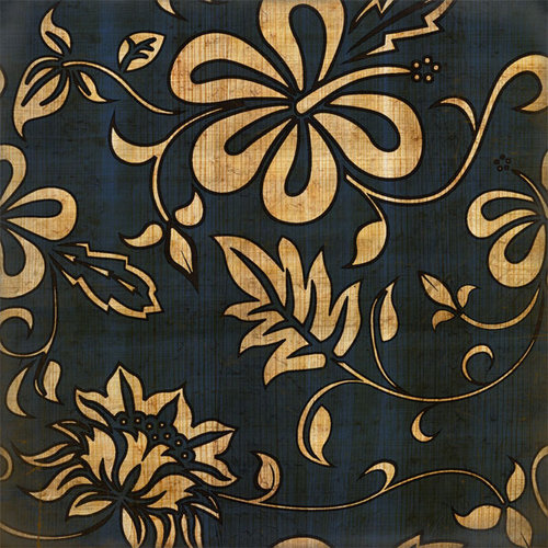 Scrapbook Customs - United States Collection - Hawaii - 12 x 12 Paper - Hawaiian Floral - Blue