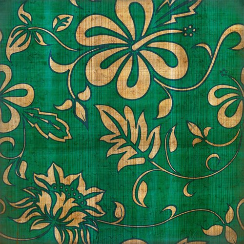 Scrapbook Customs - United States Collection - Hawaii - 12 x 12 Paper - Hawaiian Floral - Green