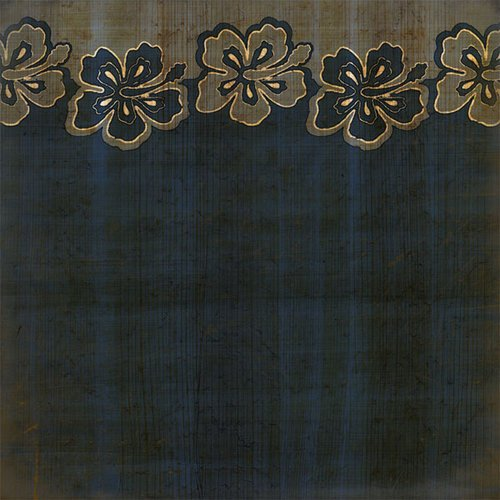 Scrapbook Customs - United States Collection - Hawaii - 12 x 12 Paper - Hibiscus Border - Blue